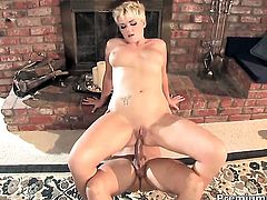 Claudia Downs shows off her sexy body as she gets her mouth fucked by mans sturdy cock