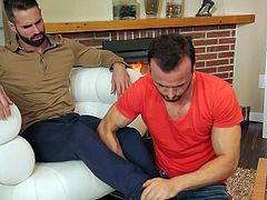 Gabriel definitely masters the art of seduction. The horny gay man massages his adored lover's feet and ends with sucking his toes. Undressing comes naturally. Watch the inciting rim job scene and naughty Dani, tasting cock. Click to see this hot stud's tattooed inked on his appetizing left buttock...