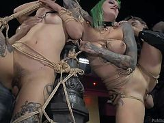 Slutty Satrina and naughty Lola, have been awfully bonded with ropes, while two horny men take care, that their wet cunts get pounded in the dirtiest of ways. A sexy naked bitch, Mona, makes sure that the lusty slut with green-dyed hair gets aroused and her ties are strong. Don't miss the kinky scenes!