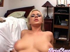 Juggy blonde Bree Olson looks hot while sucking dick and getting fucked on a pov camera