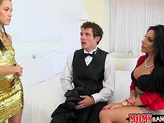 Megan finds her partner in the company of slutty Jaclyn. The man is surprised he got caught, but he just might be the luckiest at the party, as he is about to get spoiled by both these hot bitches. See the brunette in golden molded dress, sucking dick or face sitting, while the other naughty babe rides dick.