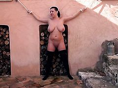 Kora with juicy tits and clean snatch fucking herself like mad in solo action