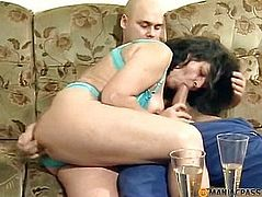 Mature brunette sucks dick a peasant
