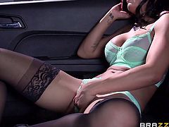 Amia is waiting for her lover in the car. The guy finds her wearing on only her sexy lingerie. She's so turned on, she keeps masturbating, while talking over the phone. Click to watch this brunette hot babe getting busy with the man's cock. The dirty game continues with a kinky hand job. See what's next!