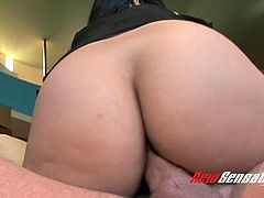 Truly horny bootylicious black head Evie Delatosso goes nuts about riding prick