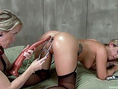 A lot can happen between two adventurous and slutty lesbians. And this is definitely true of Simone and Jenna. Simone lets Jenna put a huge plug into her butt and makes sure it opens up her hole really well. She then licks her ass hole and makes it lubricated, so that when she puts her finger inside, Simone can have a good time.