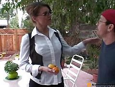Aunt before the guy squeezes her pussy