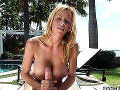 Alexis Fawx strokes schlong harder and faster until man cums