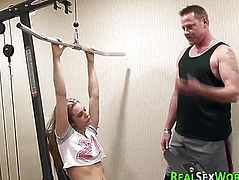 Gym bunny teen swallows