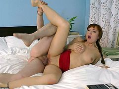 Lexy Star is a redhead that just aches for some anal fun. She has her rectum stretched wide open by a massive dildo so that even bigger shaft can fit up her tight anus