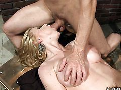 Blonde Natasha Brill gives oral job to hot fellow