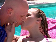 Jillian loves to swim naked. The uninhibited bitch also enjoys tanning and knows, how to respond passionately to her gardener's kisses. She cries for his help, with oiling her sensitive skin and the horny guy simply cannot stay away from such a beauty. Click to see the blonde lady playing with the guy's cock.