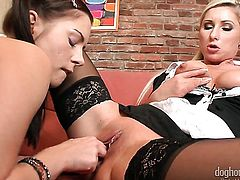 Vanessa Hell is good at pussy licking and her lesbian friend Leony April knows it