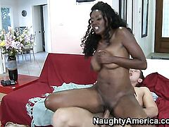 Nyomi Banxxx with juicy boobs and smooth twat gets a fuck with hot guy Danny Wylde