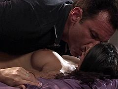 Passionate milfy brunette Nikki Daniels gets her sweet pussy licked and her hot mouth fucked hard before man makes his rod disappear in her vagina. She enjoys hardcore sex of her lifetime in the bedroom.