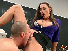 Charing babe Chanel Preston with long brown hair gives headjob to hot dude in the classroom and then gets her trimmed pussy pounded with her short black skirt on. Chanel Preston is dangerously horny and loves hardcore sex so much!