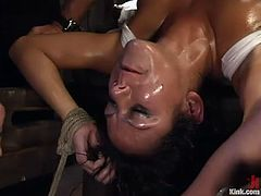 Bald headed master Mark Davis finger fucks oiled up slut Nadia Styles