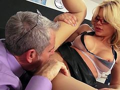 Sexy four-eyed blonde Riley Steele in white blouse and see-through bra gives mouth job to older man before she opens her legs to take it balls deep in her hairless tight pink pussy.