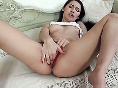 Stacy Snake with big melons poses for your viewing pleasure in solo scene