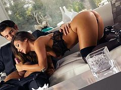 Long haired perfect ass babe Eva Lovia in sexy black lingerie and high heels exposes her round butt while giving great sensual blowjob to her bang buddy. This beautiful girl sucks like a pro!