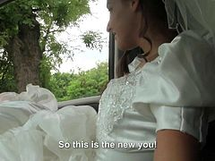 It was supposed to be her happiest day, but this bride got dumped. Nevertheless, she got herself a stranger who has more than happy to bang her so she can swallow cum. Still a happy day