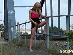 Gorgeous girl piss in public for relief