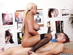 Bridgette B. with huge jugs and hairless twat gets fucked in her pussy by Chris Johnson