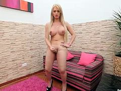 Bubbly blonde shemale jerking off on the couch solo