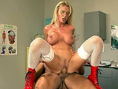 Naughty nurse Nikki Benz gets on top of a patient and grinds away
