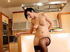 Emylia Argent with giant tits and bald bush makes her sexual fantasies a reality in solo scene