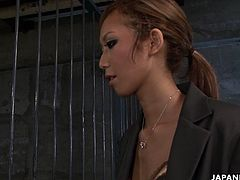 Sexy prison chick Kei gives blowjob to a group of horny lawyers