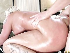 Leya Falcon with huge tits gets the hole between her legs fucked by Erik Everhards sturdy boner