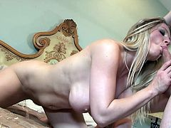 Devon Lee gets cum on tits after blowing a cock and ripped hardcore