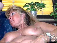 Cute little busty blonde doesn´t mind sucking and fucking Petra´s horny friend.