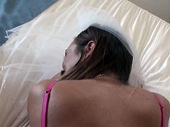 Stacey is finally married and her husband thought that it would be a great idea to film their first night. They do and Stacey goes bananas in that reverse cowgirl