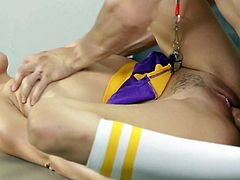 Brunette cheerleader, Riley Reid is about to be drilled hard in the locker room while shes wearing her uniform. The amount of fuck that her twat can take is immense