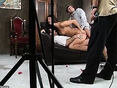 Brunette does striptease before she plays with her back yard in solo scene