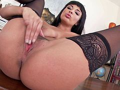 Petite French slut, Anissa Kate is having a close up of her gaping and dripping wet twat. Shes wearing stockings and she is as incredible as ever. So is her vagina