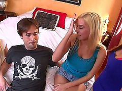 Kaci Starr, Rebecca Blue and Mariah Madysinn get naked together with some guys and have fun. They have group sex in a hotel room in front of the cameras. It is a sight to see!