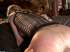Leggy bitch Kery Miller in see-through black fishnet top gets her tight anal hole filled with hard dick before she takes another rod in her mouth. Watch her get some ass fucking in threesome action!