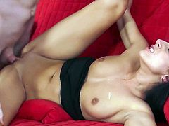 Dark haired hot girl Nikki Daniels in black panties loves getting her tight clean pussy used by horny dude. Passionate brunette gets her snatch tongue fucked and filled with stiff throbbing cock.