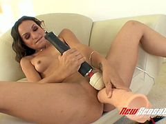Fuck starving brunette slut Amber Rayne performs hard solo on sofa