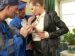 Horny woman seduced by repair guys then banged hardcore in a threesome