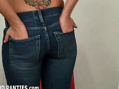 Skinny teen Alex teasing in tight jeans