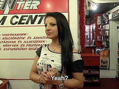Girl that works at the porn store as a cashier wants to make some extra money. So she takes off her clothes and gives us her ass for an anal gangbang.