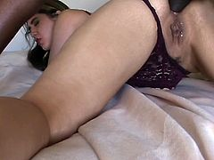 White buxom slut had hard anal session with her black freak in sideways pose
