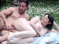 This horny mature bitch is eager to get laid on the grass, under the sun, out in the open! The naked slut with saggy big tits is eager to suck cock at picnic. Click to watch her banged sideways and from behind!