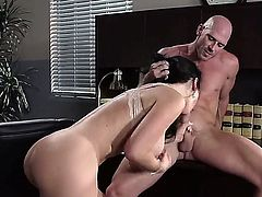 Johnny Sins sticks his hard dick in Jayden Jaymess wet pussy eagerly. This big titted sexy brunette is his hot boss. He does his best to bring her to the edge of nirvana.
