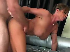 All milfs love chicken. This brunette, Eva is no excuse. She has a guy over for an interview, but she cant hold back as her tight twat screams for the guys dick.