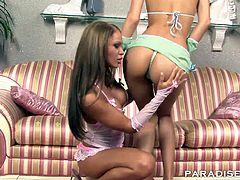 Leana gives Christina a warm welcome into her new home and there is no stopping her from getting a piece of that wet pussy.